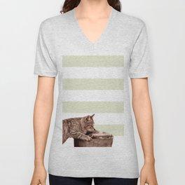 Cat Play on stripes Unisex V-Neck
