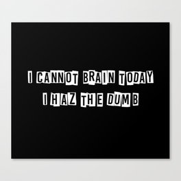 I cannot brain today.... Canvas Print
