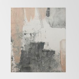 Peace and Quiet [1]: a pretty, minimal abstract piece in gray and peach by Alyssa Hamilton Art Throw Blanket