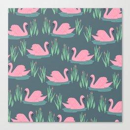 Pink Swans Canvas Print