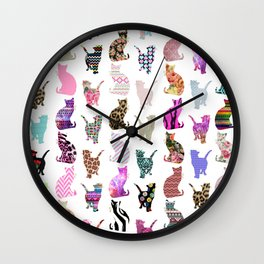 Girly Whimsical Cats aztec floral stripes pattern Wall Clock