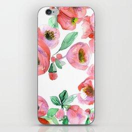 Floral Print Pink Chaenomeles iPhone Skin
