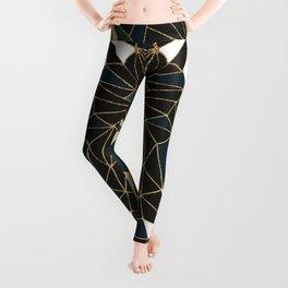 New Art Deco Geometric Pattern - Emerald green and Gold Leggings