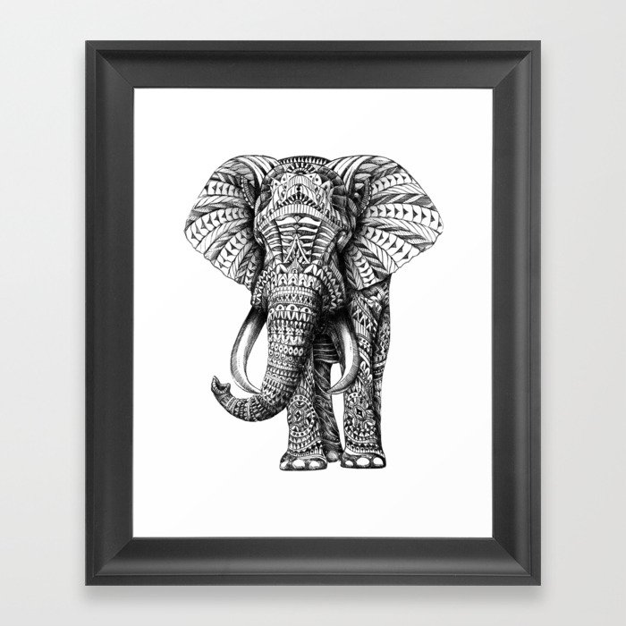 Ornate Elephant Framed Art Print by bioworkz   Society6