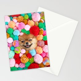 Pomeranian in the Poms Stationery Cards