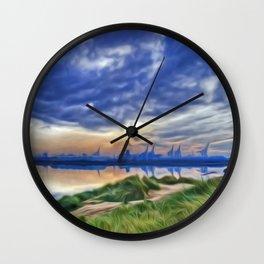 Marina Sunrise (Digital Art) Wall Clock