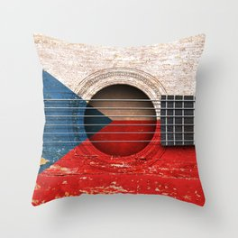 Old Vintage Acoustic Guitar with Czech Flag Throw Pillow