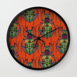 flower beetle orange Wall Clock