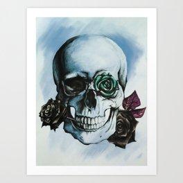 Skulls and Roses BLUE Art Print