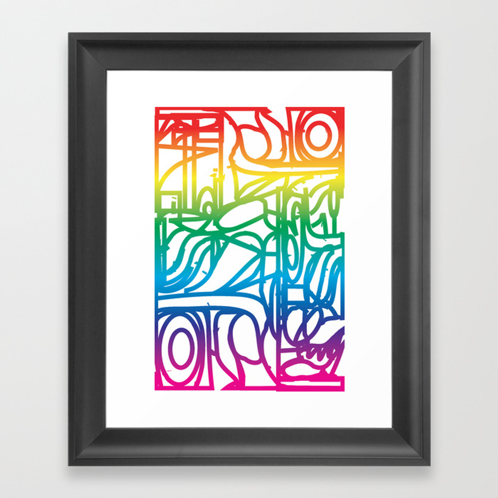 Rainbow Stained Glass Pattern Framed Art Print by Charker FRM8575355
