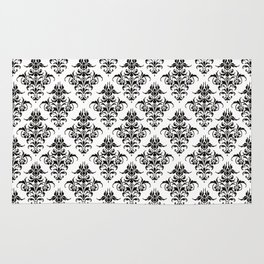 Damask Pattern | Black and White Rug
