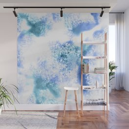 Bright Blue Marble Crystal Watercolor Wall Mural