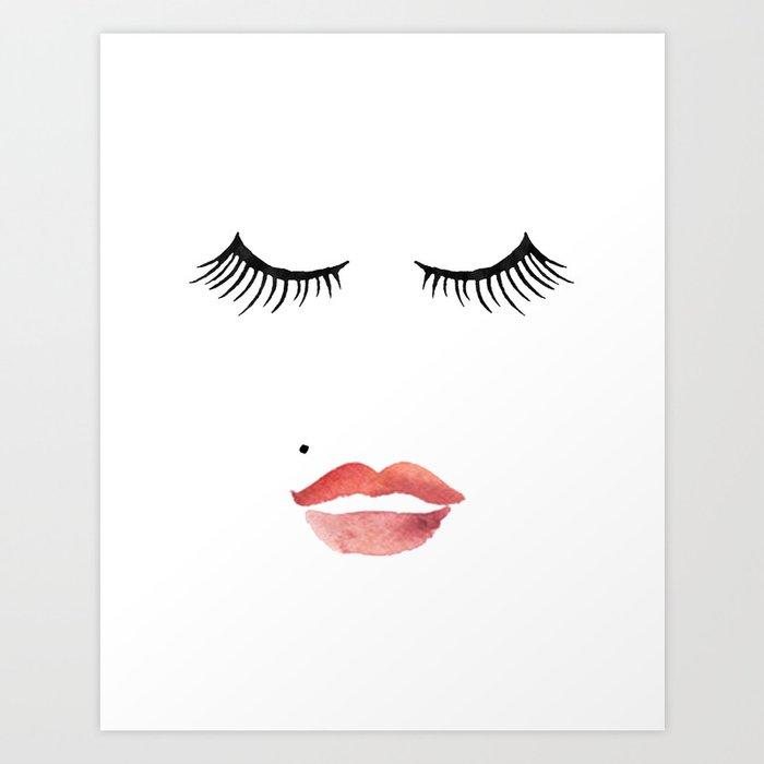 makeup print bathroom decor wall art fashion print lips print