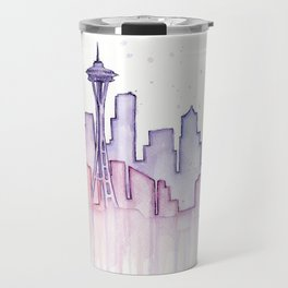 Seattle Skyline Watercolor Travel Mug
