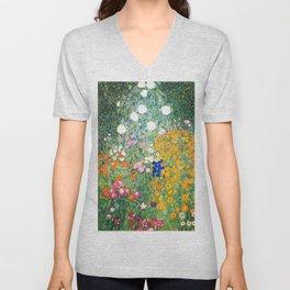 """Gustav Klimt """"Blumengarten (Flower Garden)"""" Unisex V-Neck"""