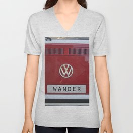 Wander van. Summer dreams. Red Unisex V-Neck