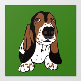 A Dog Mom and Her Basset Hound Canvas Print
