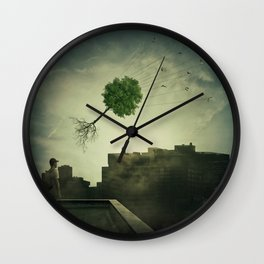Greening of the foggy town Wall Clock
