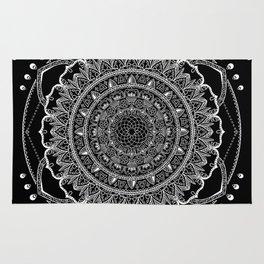 Black and White Geometric Mandala Rug