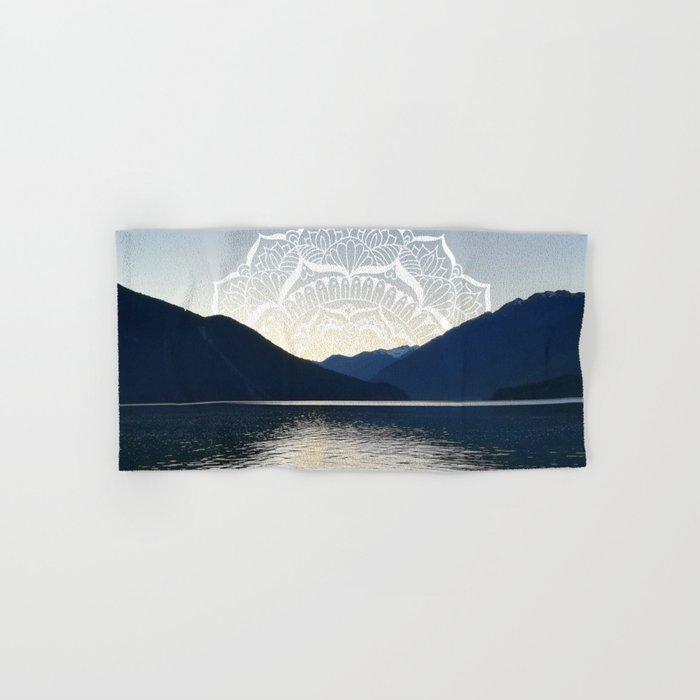 Pacific Northwest Lake Mandala Sunset Hand & Bath Towel
