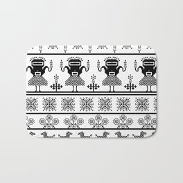 folk embroidery, black on white background. Collection of flowers, birds, peacocks, horse Bath Mat