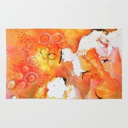 Orange Map Abstract Rug