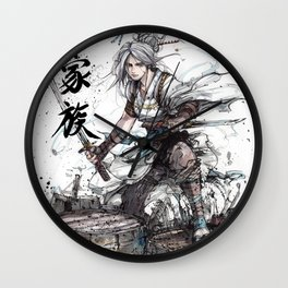 Samurai Girl with Japanese Calligraphy - Family - Ciri Parody Wall Clock