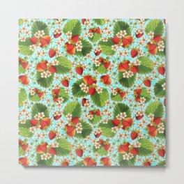 Botanical Strawberries Metal Print