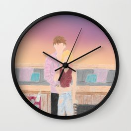 shawn celebrity and myself on rooftop party scene pink hair sunset Wall Clock