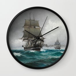 Vintage Sailing in Rough Waters Painting (1876) Wall Clock