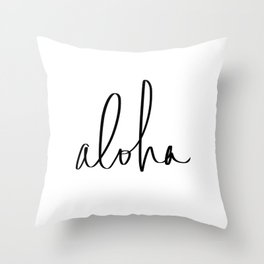 Aloha Hawaii Typography Throw Pillow