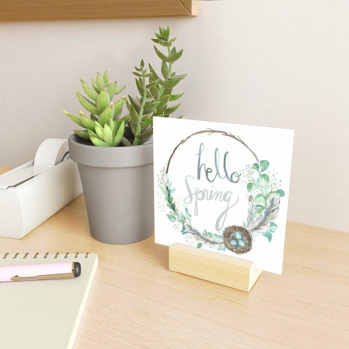 Hello Spring Eucalyptus Wreath with Nest Mini Art Print