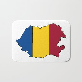 Romania Map with Romanian Flag Bath Mat