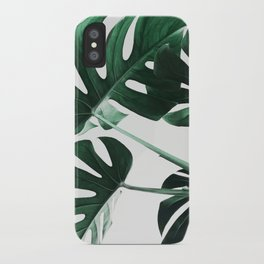 Monstera, Leaves, Plant, Green, Scandinavian, Minimal, Modern, Wall art iPhone Case