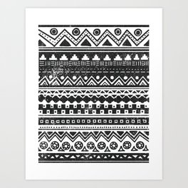 Aztec Inspired Pattern Black and White Art Print