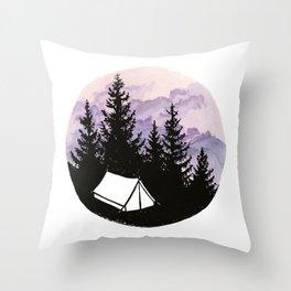 Tiny tent under evening sky Throw Pillow