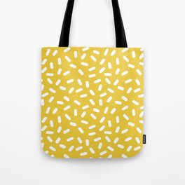 Somethin' Somethin' - yellow bright happy sprinkles pills dash pattern rad minimal prints Tote Bag