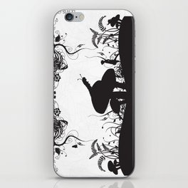 Alice's Adventures In Wonderland Black and White Illustrated Quote iPhone Skin
