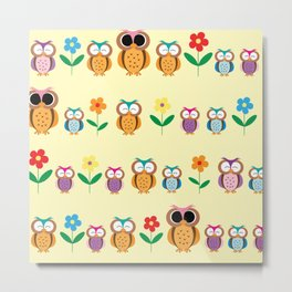 sweet owls patterns Metal Print