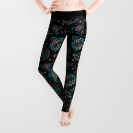 Neon Tattoo Pattern Leggings