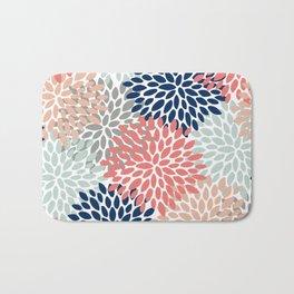 Floral Bloom Print, Coral, Pink, Pale, Aqua, Blue, Gray, Navy Bath Mat