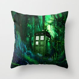 Tardis in the forest 2 Throw Pillow