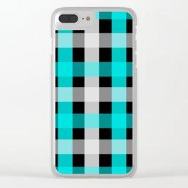 blue black checks Clear iPhone Case
