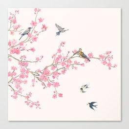 Birds and cherry blossoms Canvas Print