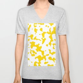 Large Spots - White and Gold Yellow Unisex V-Neck