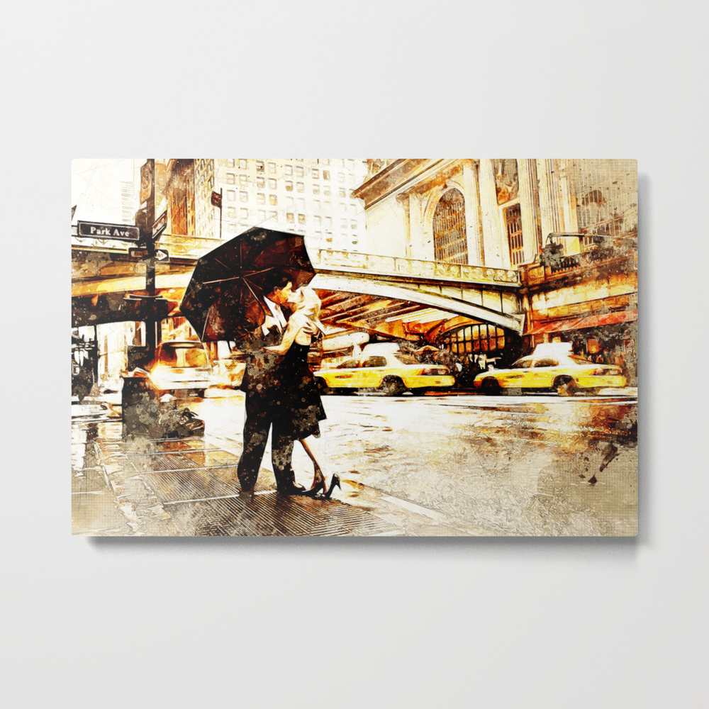 Love In The Rain (loving The Rain) Metal Print by D77thedigartist MTP8597572