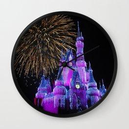 Disney Magic Kingdom Fireworks at Christmas - Cinderella Castle Wall Clock