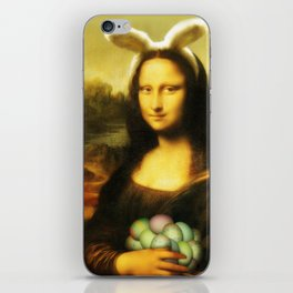 Easter Mona Lisa with Bunny Ears and Colored Eggs iPhone Skin