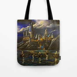 Hogwarts at Starry night Tote Bag