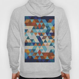 Geometric Triangle Blue, Brown  - Ethnic Inspired Pattern Hoody